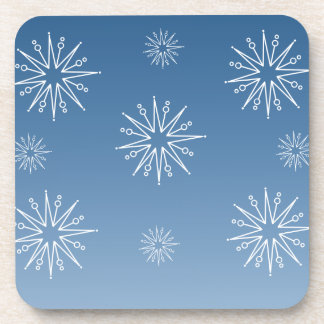 Dazzling Christmas Stars Coaster Set, Blue