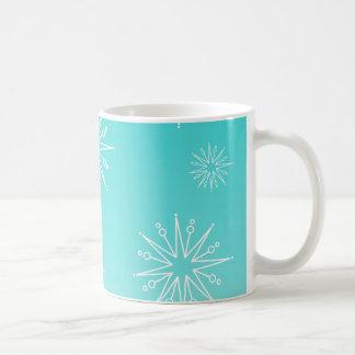 Dazzling Christmas Stars Mug, Aqua Classic White Coffee Mug