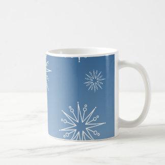 Dazzling Christmas Stars Mug, Blue Classic White Coffee Mug