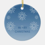 Dazzling Christmas Stars Ornament, Blue Double-Sided Ceramic Round Christmas Ornament