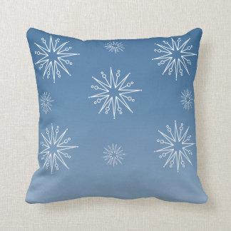 Dazzling Christmas Stars Pillow, Blue Throw Pillow