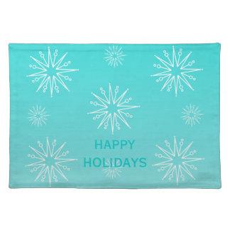Dazzling Christmas Stars Placemat, Aqua Cloth Placemat