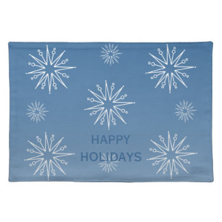Dazzling Christmas Stars Placemat, Blue Cloth Placemat