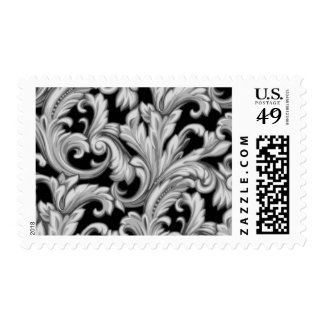 Dazzling Damask, Black and Silver Postage Stamps