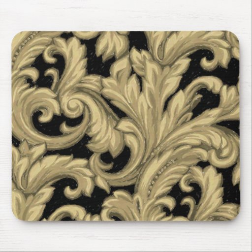 Dazzling Damask, Gold and Black Mouse Pad