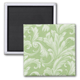 Dazzling Damask, Green 2 Inch Square Magnet