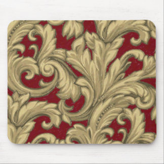 Dazzling Damask Red and Gold Mouse Pad