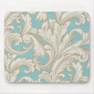Dazzling Damask Tan and Aqua Mouse Pads