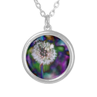 Dazzling Dandelion Round Pendant Necklace