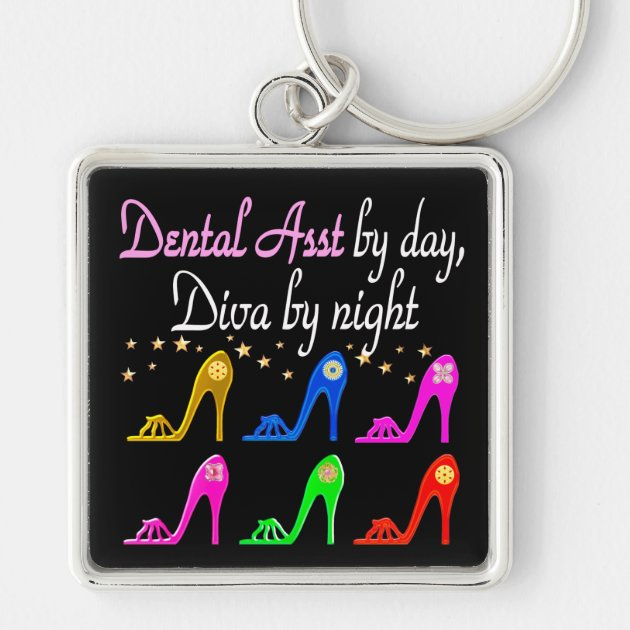 DAZZLING DENTAL ASSISTANT SHOE QUEEN KEYCHAIN | Zazzle.com