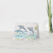 "Dazzling Dolphins Note Card - 5.6"" x 4"""