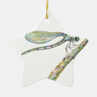 Dazzling Dragonfly on a Branch Ceramic Ornament