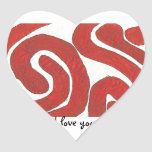 Dazzling earth red graphic heart sticker