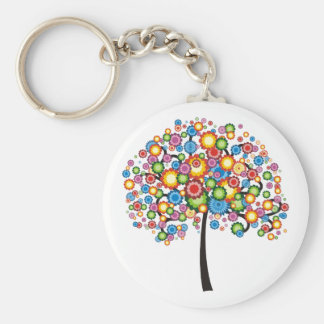 Dazzling Family Tree Basic Round Button Keychain
