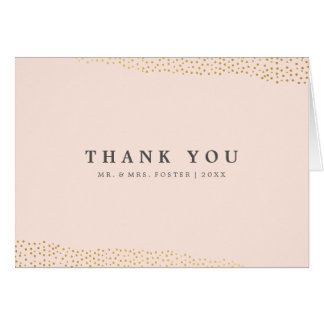 Dazzling faux foil thank you note card