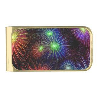 Dazzling Fireworks Gold Finish Money Clip
