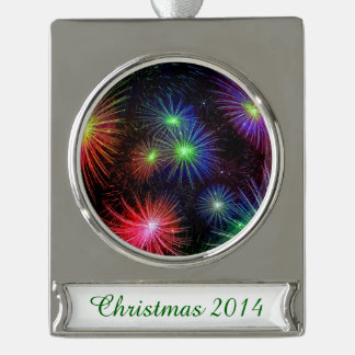 Dazzling Fireworks Silver Plated Banner Ornament