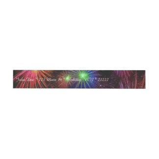 Dazzling Fireworks Wrap Around Address Label