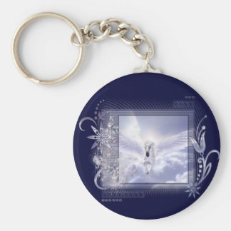 Dazzling Flying Unicorn Tag Series Basic Round Button Keychain
