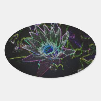 Dazzling Glow Lotus Oval Sticker