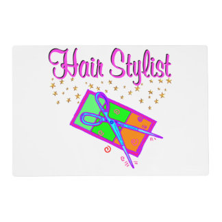 DAZZLING HAIR STYLIST AND BEAUTICIAN LAMINATED PLACEMAT