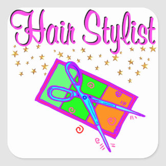 DAZZLING HAIR STYLIST AND BEAUTICIAN SQUARE STICKER