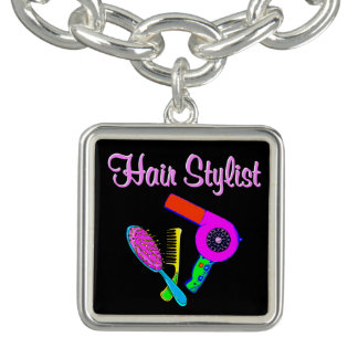 DAZZLING HAIR STYLIST TEES AND GIFTS CHARM BRACELETS