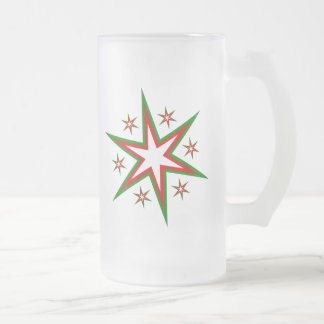 Dazzling Holiday Star Cluster Frosted Glass Beer Mug