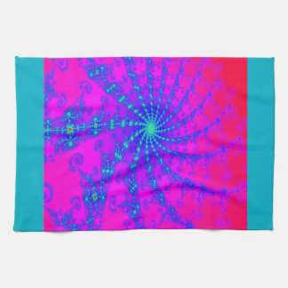Dazzling Hot Pink & Blue Swirl Fractal Design Towel