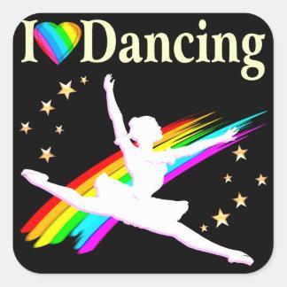 DAZZLING I LOVE DANCING BALLERINA DESIGN SQUARE STICKER
