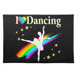 DAZZLING I LOVE DANCING DESIGN CLOTH PLACEMAT