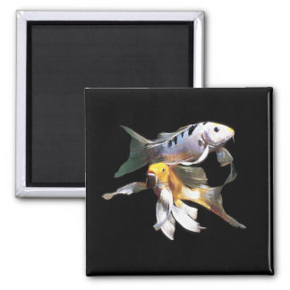 Dazzling Koi Pair 2 Inch Square Magnet