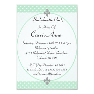 Dazzling Mint Polka Dots Bachelorette Party Invite
