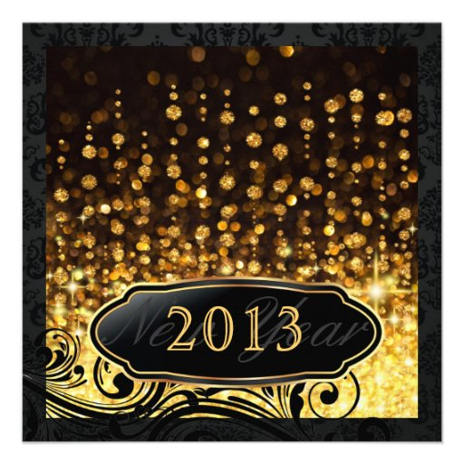 Dazzling New Year's Eve Gold Party Invitations