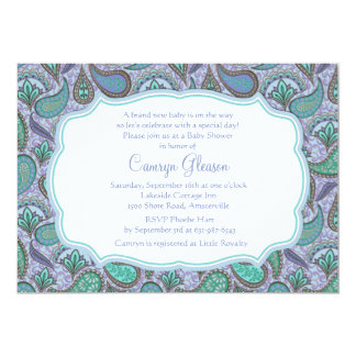 Dazzling Paisley Blue Baby Shower Invitation