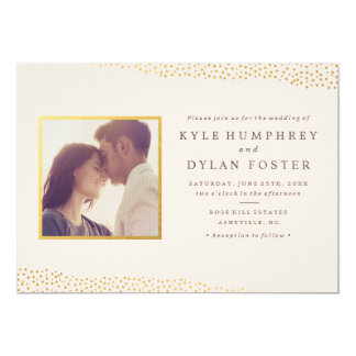Dazzling photo wedding invitation faux foil