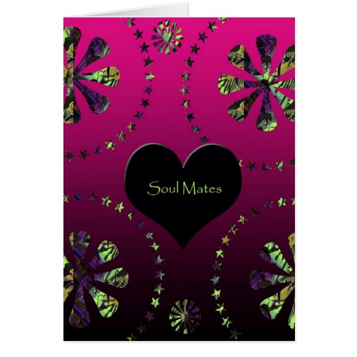 """""""Dazzling Pink Floral Soul Mate Greeting Card"""".*"""