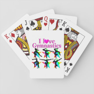DAZZLING PINK I LOVE GYMNASTICS DESIGN PLAYING CARDS