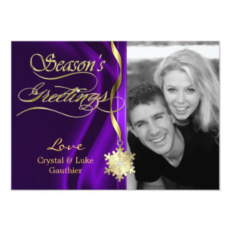 Dazzling Purple Sparkle Snowflake Holiday Card