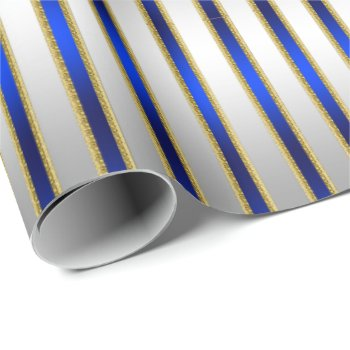 Dazzling Shiny Silver and Royal Blue Stripes Wrapping Paper