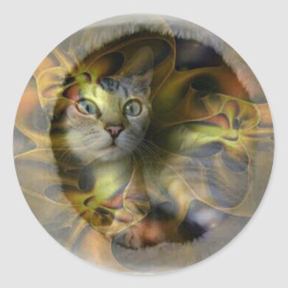 Dazzling Space Kitty gift collection Round Stickers