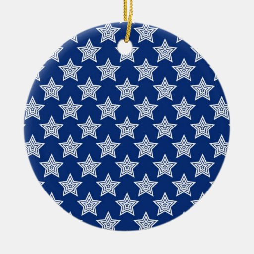 Dazzling stars on blue christmas tree ornament
