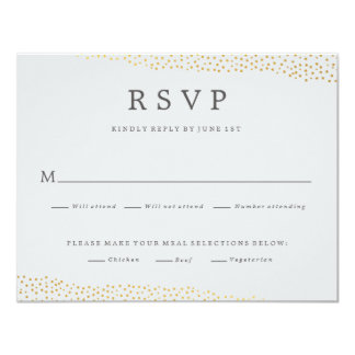 Dazzling wedding faux foil response rsvp card