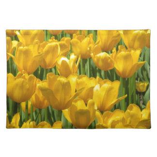 Dazzling Yellow Tulip Border Cloth Place Mat