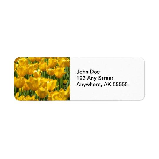 Dazzling Yellow Tulip Border Label