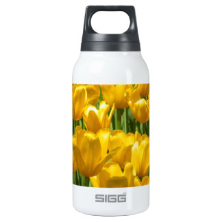 Dazzling Yellow Tulip Border Thermos Water Bottle