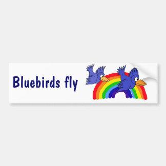 DB- Bluebirds Fly over the Rainbow Shirt Bumper Sticker
