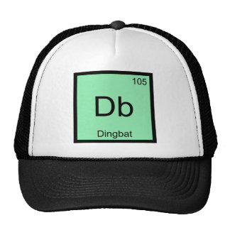 DB - Camiseta divertida del símbolo del elemento d Gorros