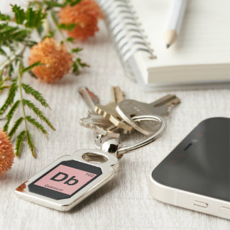 Db - Dubnium Chemistry Periodic Table Symbol Silver-Colored Rectangular Metal Keychain