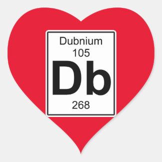 DB - Dubnium Pegatina En Forma De Corazón